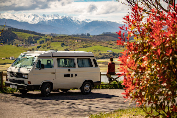 View over the river of San Vicente and the Picos de Europa VW T3