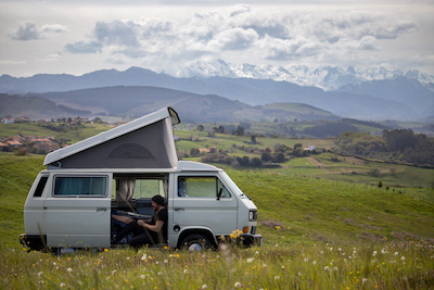 Camping bus with pop up roof, Picos de Europa